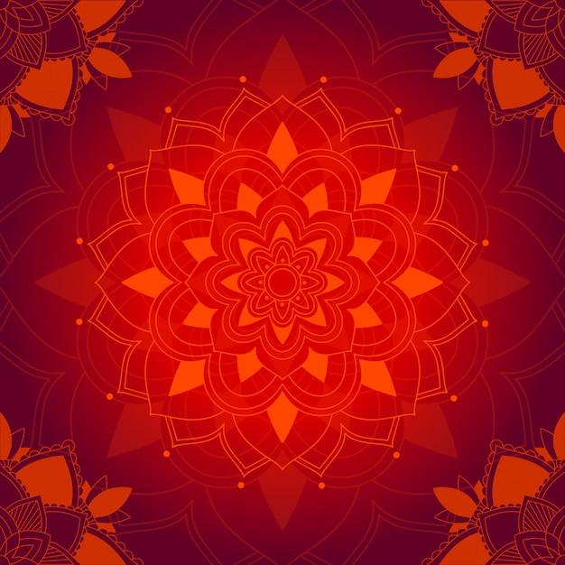 Padrão de mandala em fundo vermelho Vetor grátis