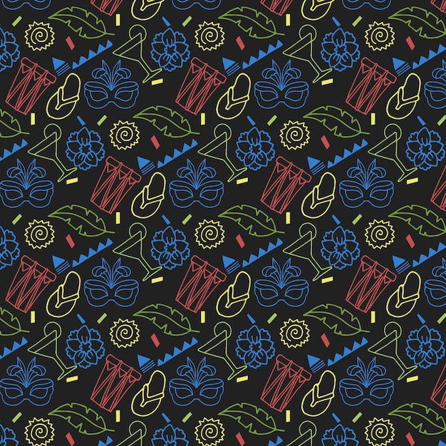 Padrão de mão desenhada carnaval colorido sobre fundo escuro Vetor grátis