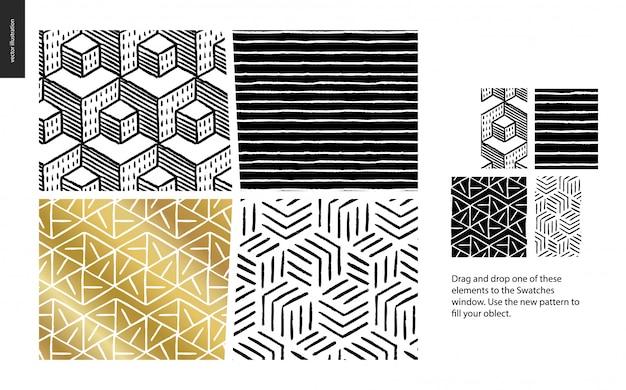 Padrão de mão desenhada em preto, ouro e branco com linhas geométricas, pontos e formas Vetor Premium