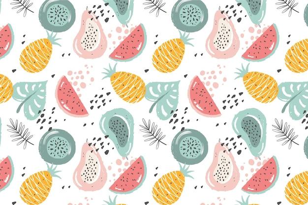 Padrão de mão desenhada frutas com abacaxi e melancia Vetor grátis
