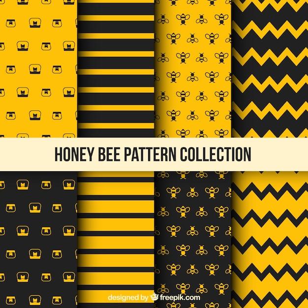 Padrão de mel com abelhas Vetor grátis