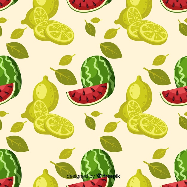 Padrão de melancia e limas de mão desenhada Vetor grátis