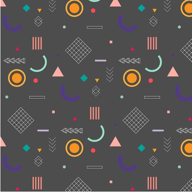 Padrão de memphis elementos geométricos na moda. Vetor Premium