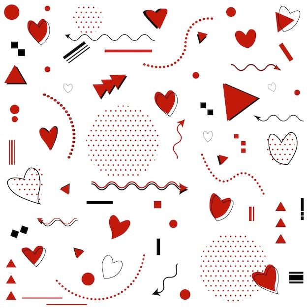 Padrão de memphis para comemoração de feliz dia dos namorados com símbolos no estilo retrô de memphis dos anos 80, 90 Vetor Premium