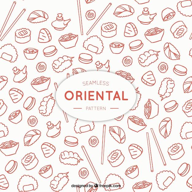 Padrão de menu oriental sketches Vetor grátis