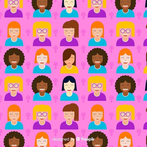 Padrão de mulheres coloridas com design liso Vetor grátis