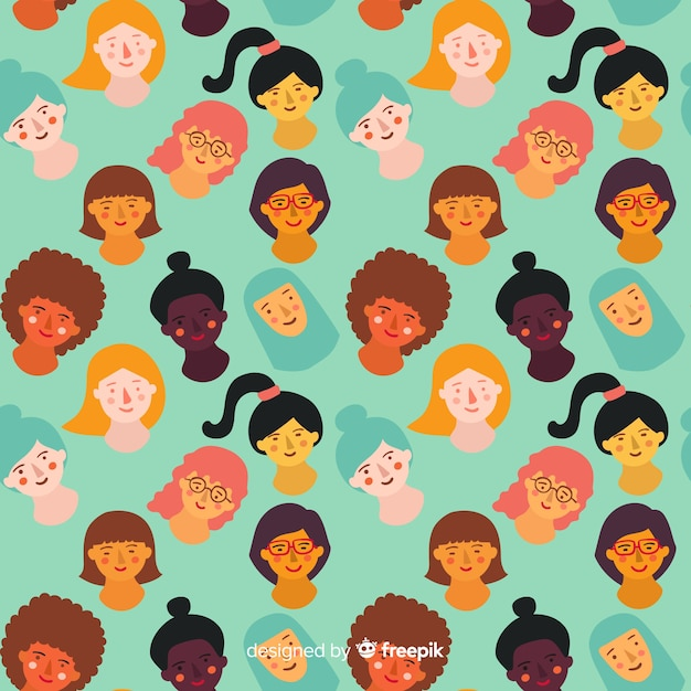 Padrão de mulheres desenhadas mão colorido Vetor grátis
