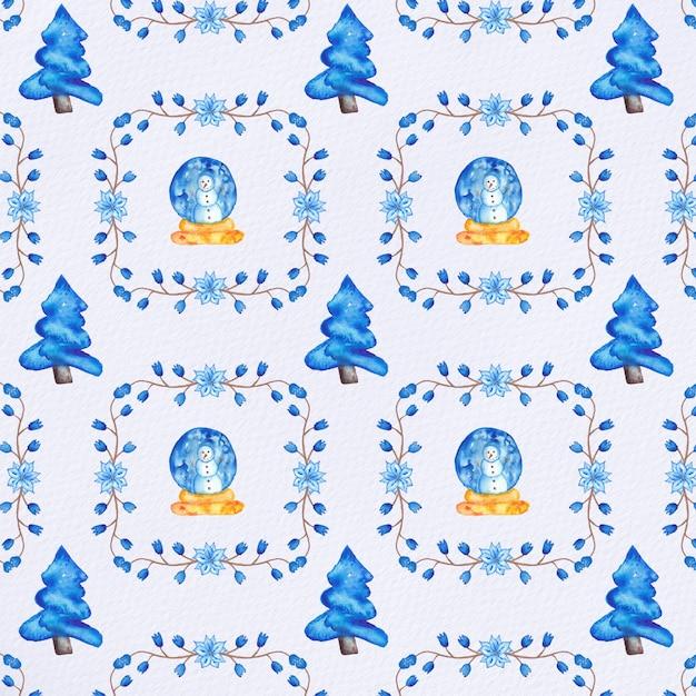 Padrão de natal de aquarela Vetor Premium