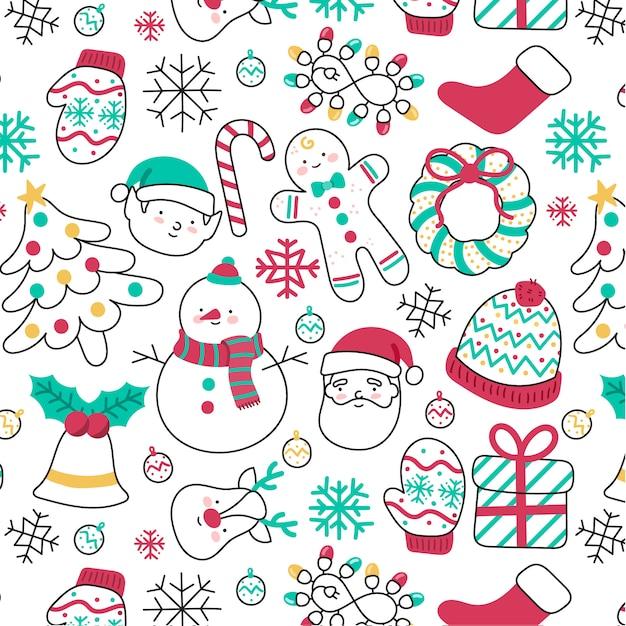Padrão de natal desenhados à mão bonito com elementos diferentes Vetor grátis