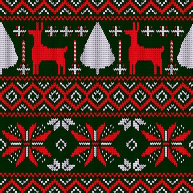 Padrão de natal em design de malha Vetor grátis