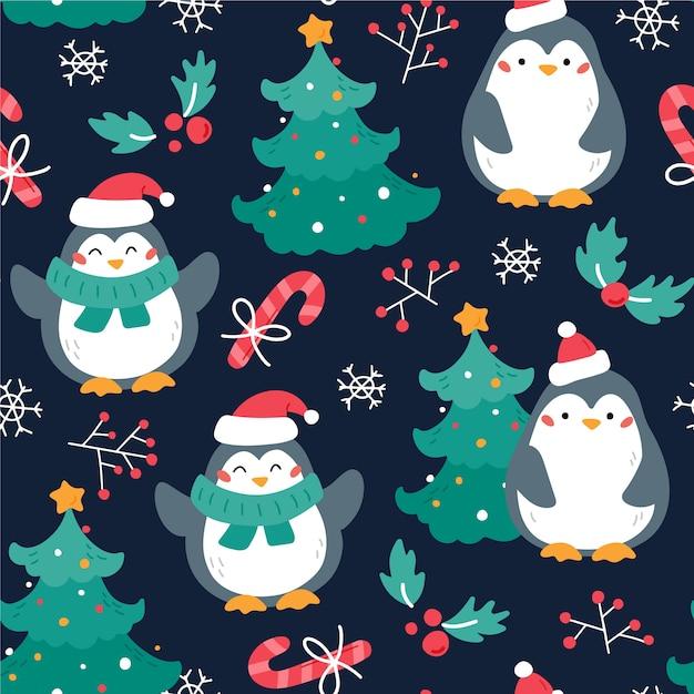 Padrão de natal engraçado colorido Vetor grátis