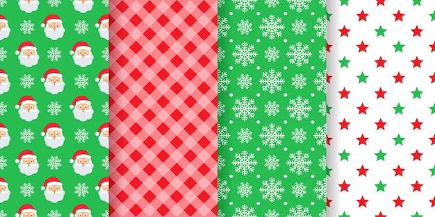 Padrão de natal. plano de fundo transparente. natal, papel de embrulho de ano novo. definir estampas têxteis festivas. Vetor Premium