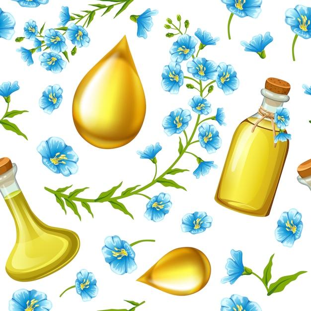 Padrão de óleo de linhaça, sementes de linho e flores. Vetor grátis
