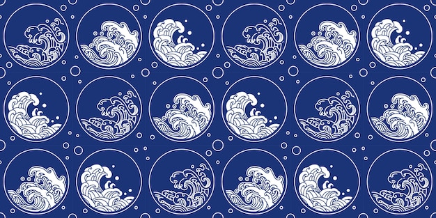 Padrão de onda chinês estilo oriental forma redonda Vetor Premium