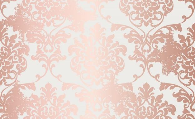 Padrão de ornamento de ouro rosa adamascado Vetor Premium