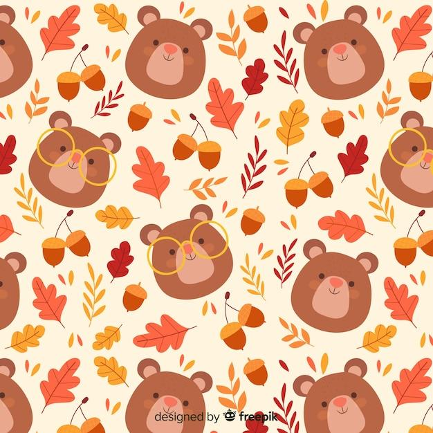Padrão de outono bonito desenhado de mão Vetor grátis