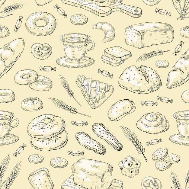 Padrão de padaria desenhada de mão. pão e bolos vintage doodle desenho Vetor Premium