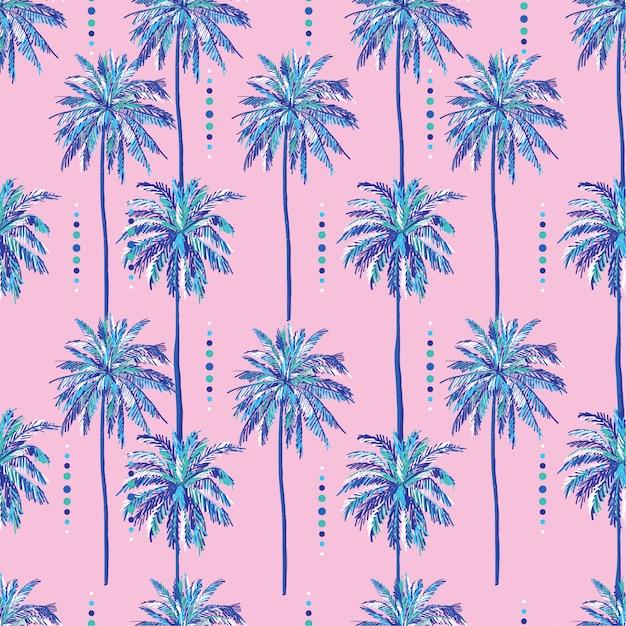Padrão de palmeiras doce sem costura verão no doce fundo rosa Vetor Premium