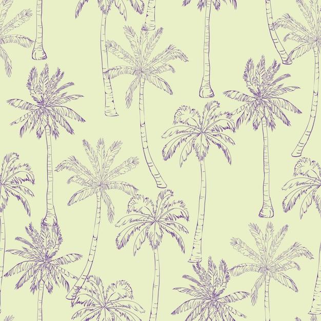 Padrão de palmeiras tropicais sem emenda. Vetor Premium