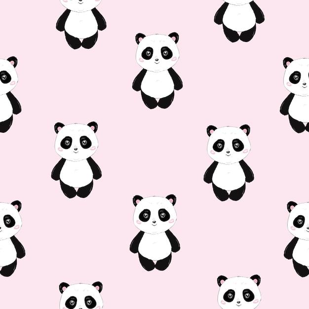 Padrão de panda bonito sem costura dos desenhos animados Vetor Premium