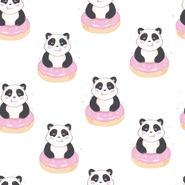 Padrão de panda sem emenda Vetor Premium