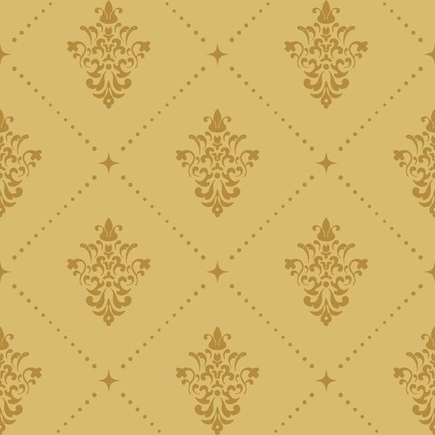Padrão de papel de parede barroco aristocrático. fundo sem costura retrô vitoriano. Vetor grátis