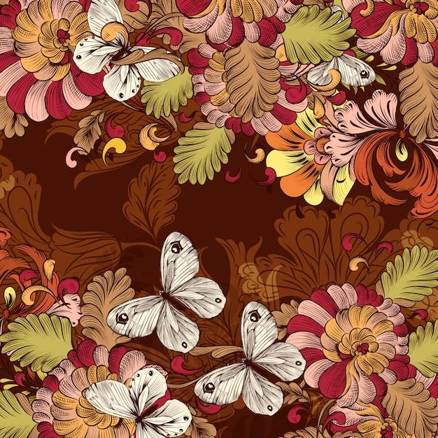 Padrão de papel de parede retrô com redemoinho elemento floral Vetor grátis