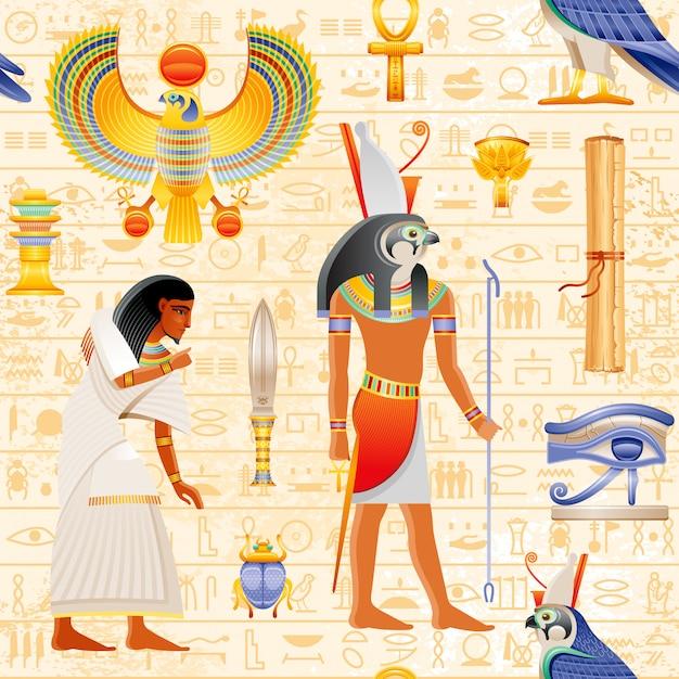 Padrão de papiro sem costura egípcio com elemento falcon horus deus e faraó - ankh, escaravelho, olho wadjet, escravo. forma histórica antiga arte egito com fundo hieróglifo. Vetor Premium