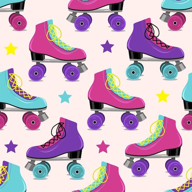 Padrão de patins retrô em fundo rosa. ilustração vetorial Vetor Premium