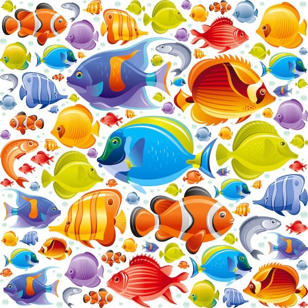 Padrão de peixes tropicais sem emenda. ilustração de animais do mar. Vetor Premium