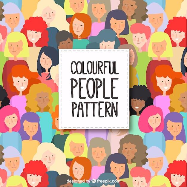 Padrão de pessoas coloridas com design plano Vetor grátis
