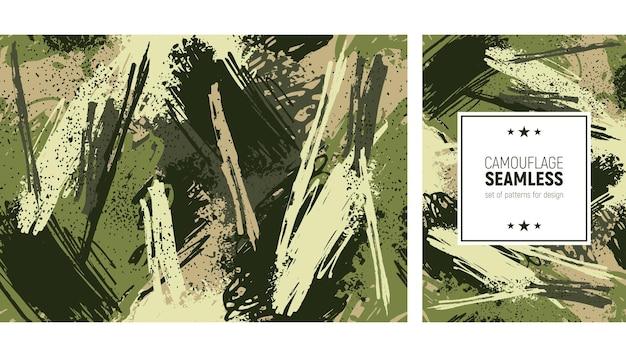 Padrão de pincelada perfeita. fundo de camuflagem Vetor Premium