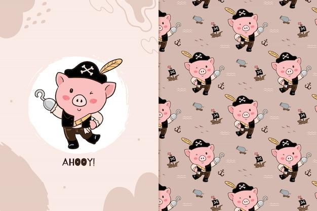 Padrão de pirata de porco Vetor Premium