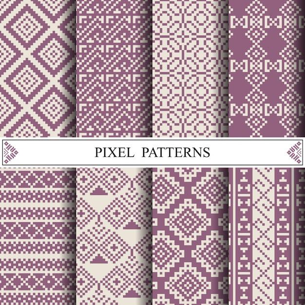 Padrão de pixel tailandês para fazer têxteis de tecido ou fundo de página da web. Vetor Premium