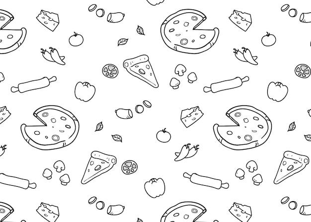 Padrão de pizza Vetor Premium