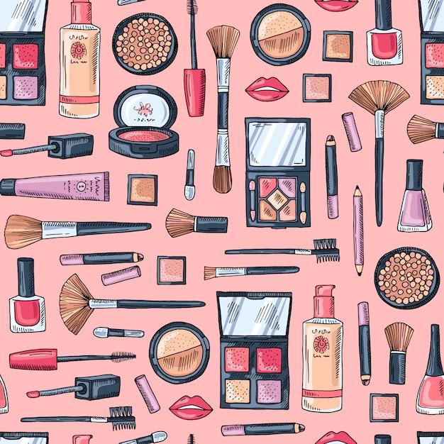 Padrão de produtos de maquiagem de mão desenhada Vetor Premium