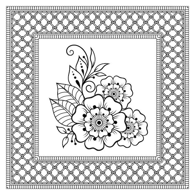 Padrão de quadrado em forma de mandala com flor para henna, mehndi, tatuagem, decoração. ornamento decorativo em estilo étnico oriental. página do livro de colorir. Vetor Premium