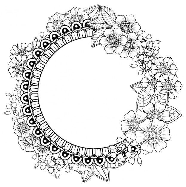 Padrão de quadrados em forma de mandala com flores para henna, mehndi, tatuagem, decoração. ornamento decorativo em estilo oriental étnico. página do livro para colorir. Vetor Premium