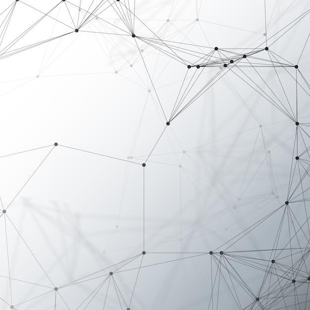 Padrão de química, conectando linhas e pontos, estrutura da molécula em cinza, científica pesquisa de dna médica Vetor Premium
