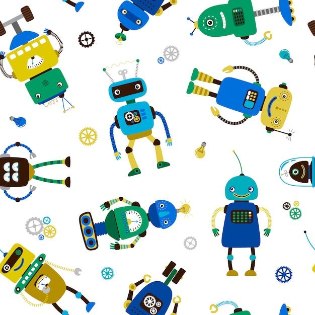 Padrão de robôs engraçados Vetor Premium