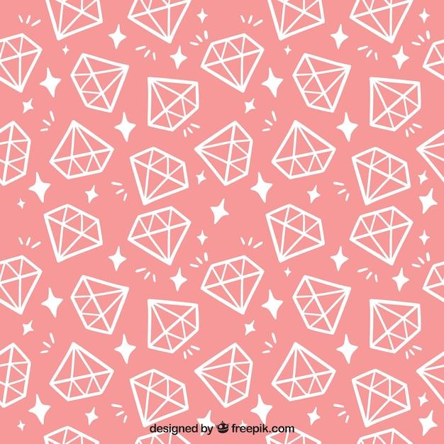 padrão de rosa com diamantes planas Vetor grátis