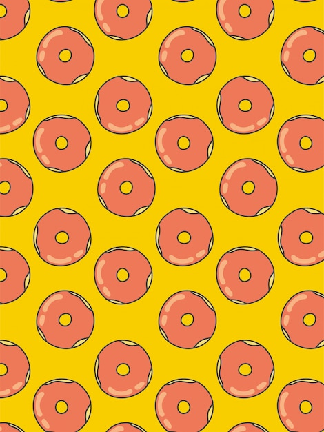Padrão de rosquinhas em fundo amarelo Vetor Premium