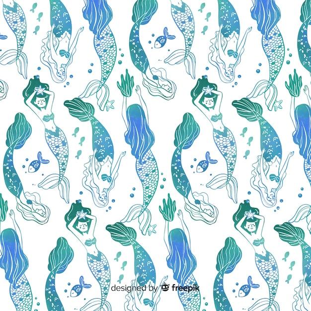 Padrão de sereia de gradiente azul mão desenhada Vetor grátis