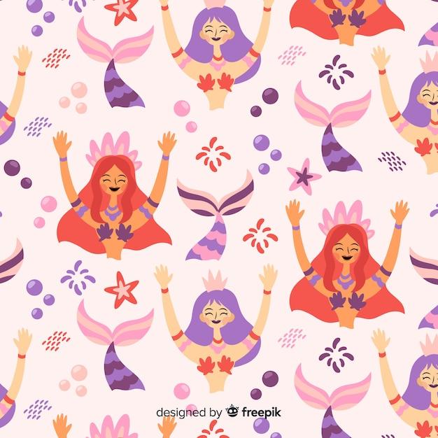 Padrão de sorridente sereia desenhada de mão Vetor grátis