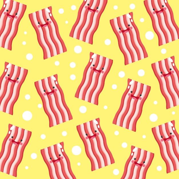 Padrão de sorriso fofo e engraçado de bacon frito Vetor Premium