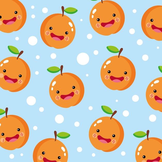 Padrão de sorriso laranja fofo e engraçado Vetor Premium