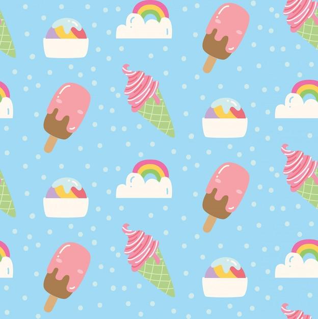 Padrão de sorvete Vetor Premium