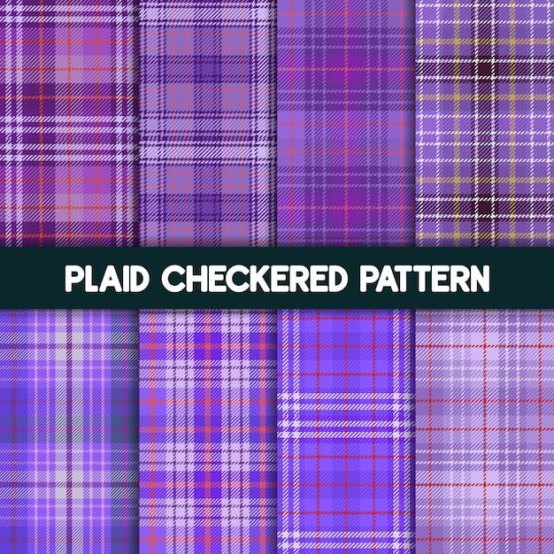 Padrão de tecido xadrez xadrez e coleção roxa sem costura Vetor Premium