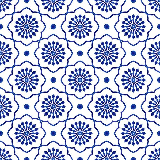 Padrão de telha cerâmica, azul e branco floral fundo sem emenda Vetor Premium