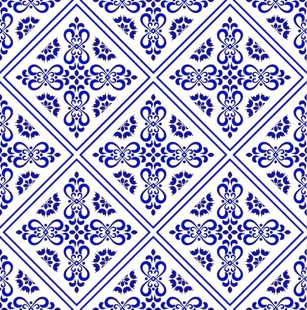 Padrão de telha cerâmica, design de plano de fundo decorativo de porcelana Vetor Premium